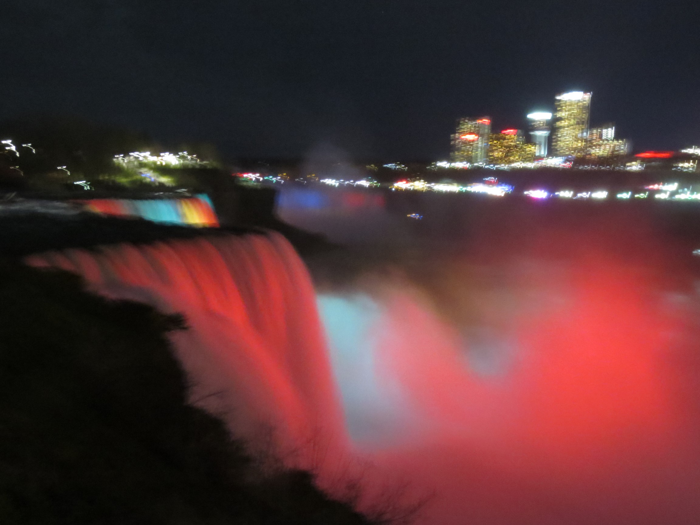 Illuminated Niagara Falls during a 2016 tour