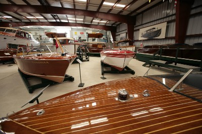 Boats on display at Antique Boat Museum in Clayton, New York
