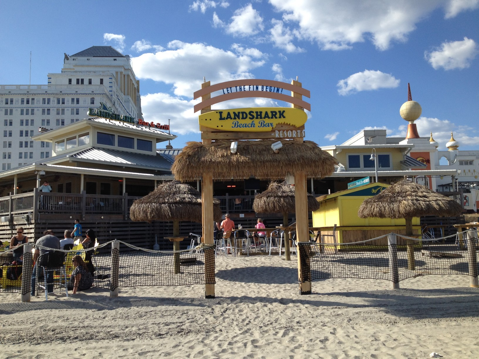 A view from the beach of Landshark Bar and Grill with Resorts Hotel