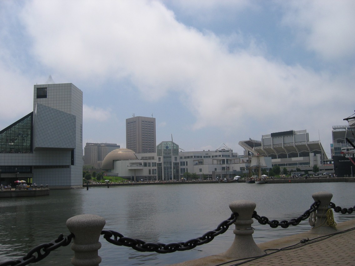 View of Rock Hall of Fame, Science Center, and Browns Stadium