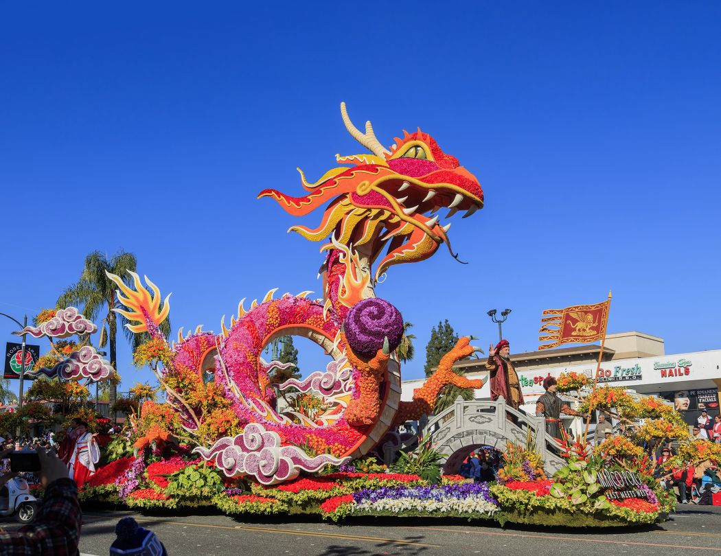 Floral covered float during Tournament of Roses Parade